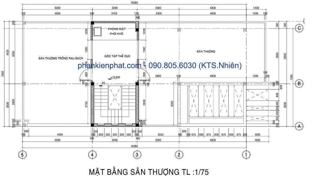 Mặt bằng sân thượng của nhà 1 trệt 3 tầng 7x16m hiện đại