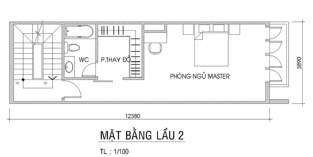 Mặt bằng lầu 2 của nhà phố đẹp 4 tầng 4x15m hiện đại