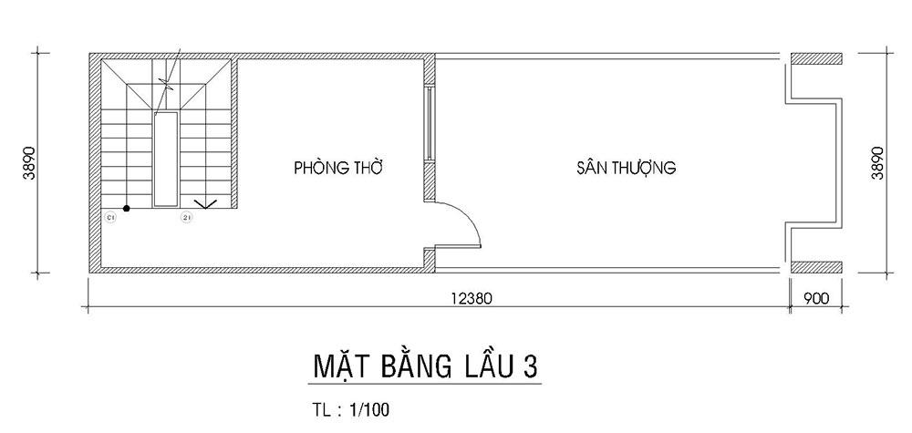 Mặt bằng lầu 3 của nhà phố đẹp 4 tầng 4x15m hiện đại