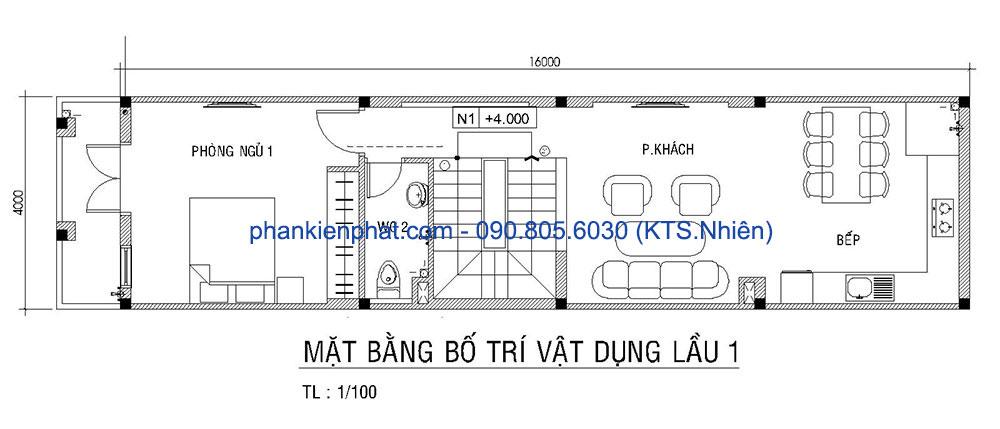 Mặt bằng lầu 1 của bản vẽ thiết kế nhà 4 tầng 4x16m