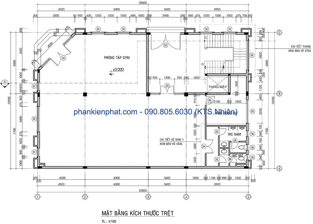 Mặt bằng tầng trệt biệt thự cổ điển 13x20m