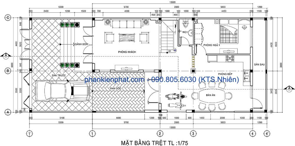 Mặt bằng tầng trệt của nhà đẹp 2 tầng 8x13.5m