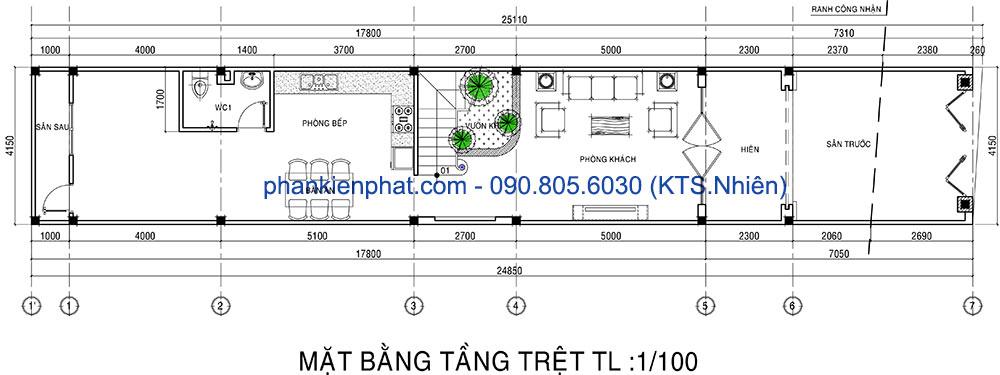 Mặt bằng tầng trệt của nhà phố 3 tầng 4x20m