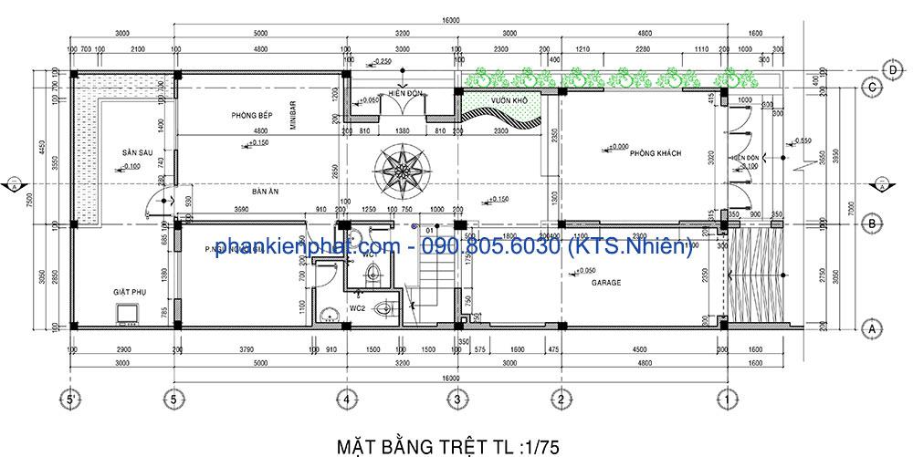 Mặt bằng tầng trệt nhà 3 tầng 1 tum 16x7m