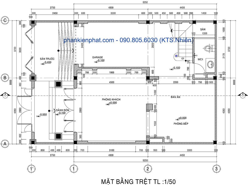 Mặt bằng tầng trệt nhà 3 tấng 12x8m