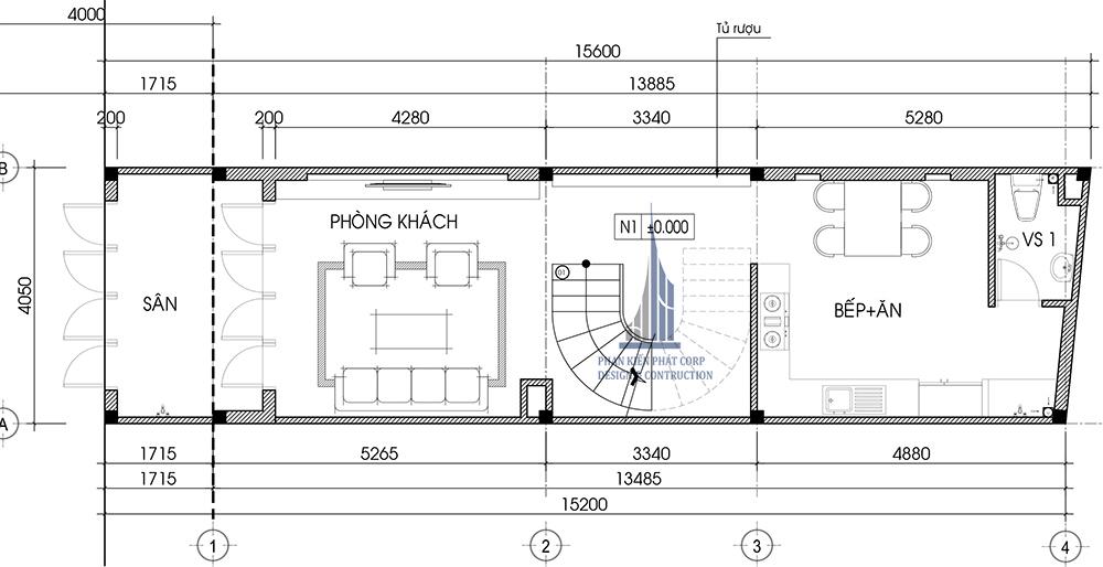 Mặt bằng tầng trệt nhà phố 4 tầng 4x15m