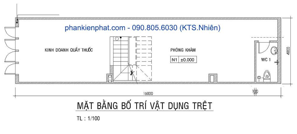 Mặt bằng tầng trệt của bản vẽ thiết kế nhà 4 tầng 4x16m