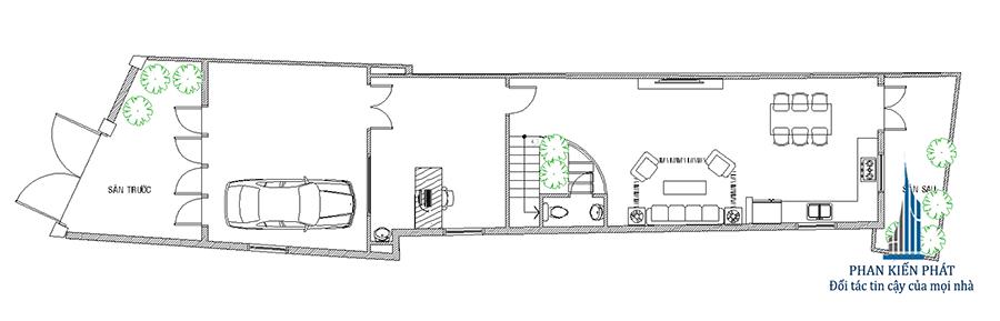 Mặt bằng trệt - nhà phố mái xéo 3 tầng