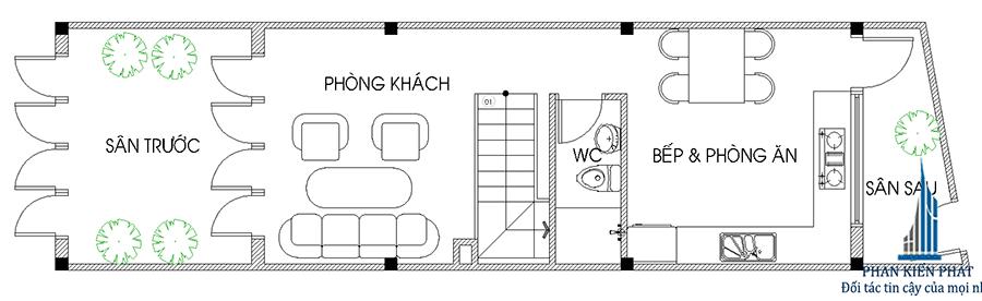 Bảng thiết nhà 3 tầng - Mặt bằng trệt