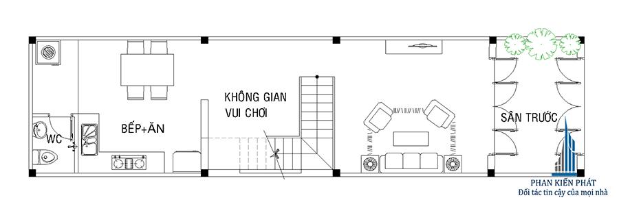 Mặt bằng trệt của nhà ống 2 tầng