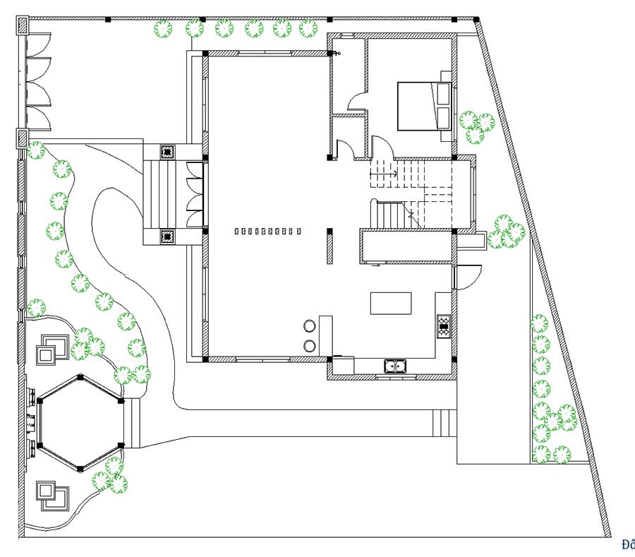 Thiết kế biệt thự sân vườn - Mặt bằng trệt