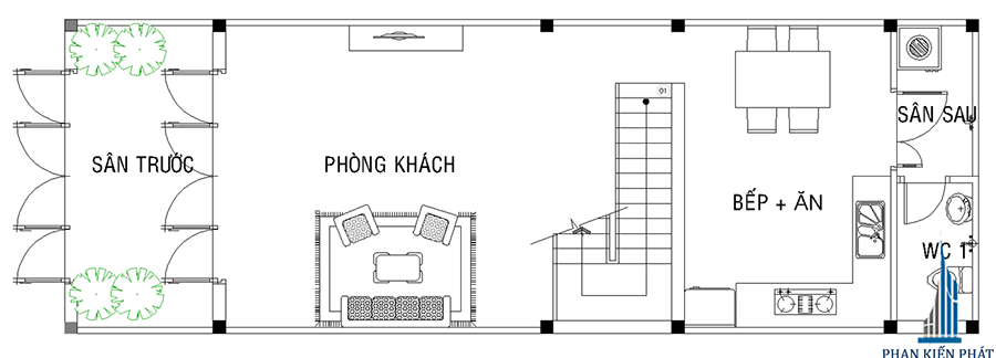 Thiết kế nhà phố - Mặt bằng trệt