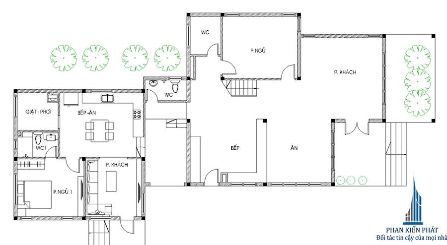 Nhà 2 tầng 5x20m - Mặt bằng trệt