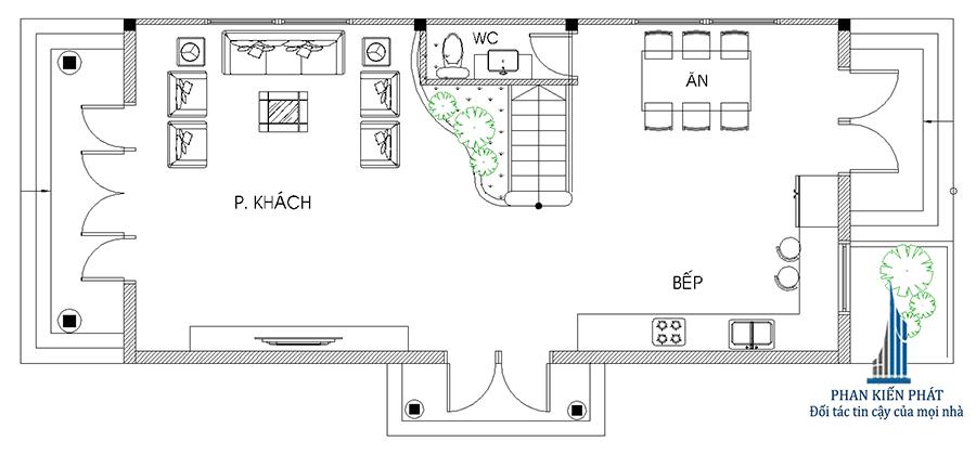 Biệt thự 2 tầng - Mặt bằng trệt