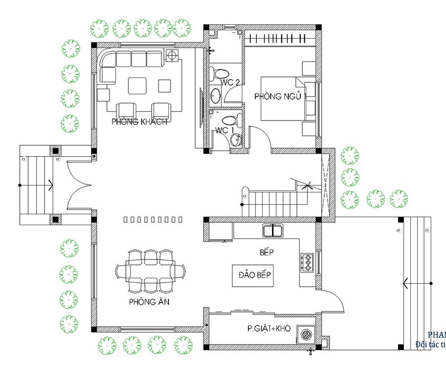 Thiết kế nhà 2 tầng - Mặt bằng trệt