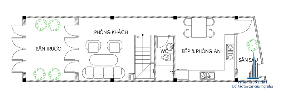 Thiết kế nhà 3 tầng - Mặt bằng trệt