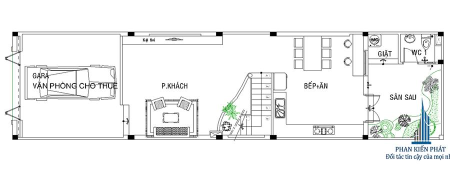 Nhà 3 tầng mặt phố - Mặt bằng trệt