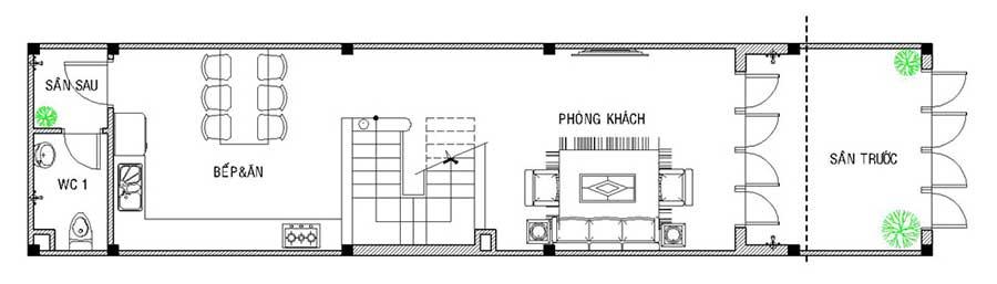 Mặt bằng tầng trệt của nhà 4 tầng mặt phố