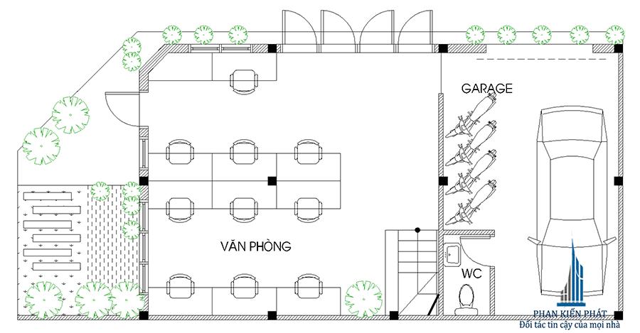 Mặt bằng trệt của nhà phố 4 tầng kinh doanh