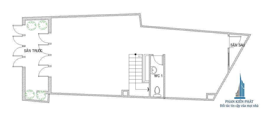 Thiết kế nhà 5 tầng - Mặt bằng trệt