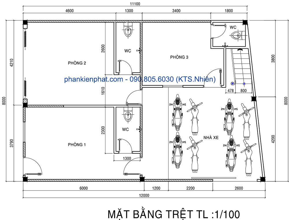 Mặt bằng trệt của nhà đẹp 2 tầng 8x12m