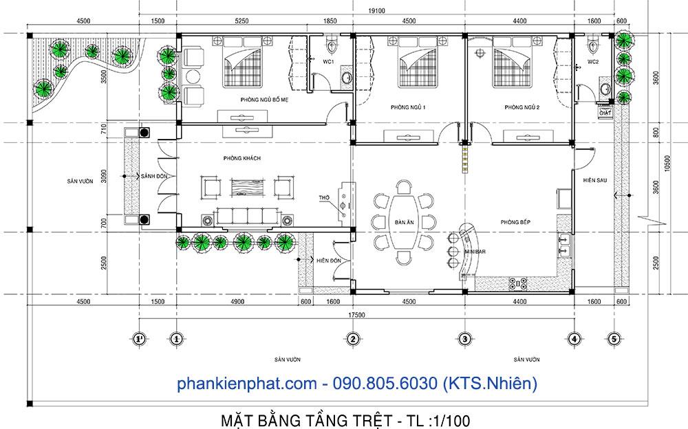 Mặt bằng trệt nhà 1 tầng 10,5x17,5m bán cổ điển