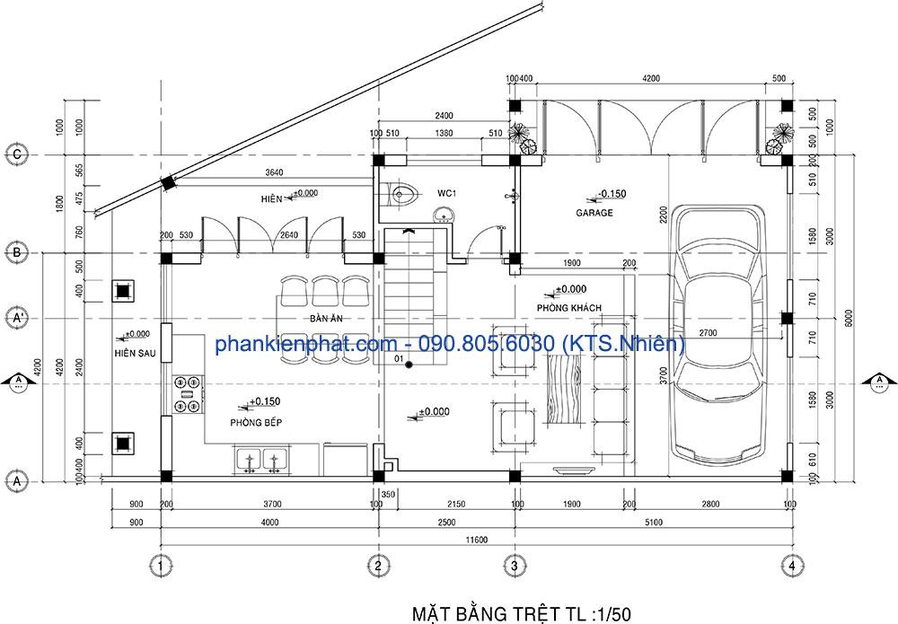 Mặt bằng trệt nhà 2 tầng mái Thái 11x6m