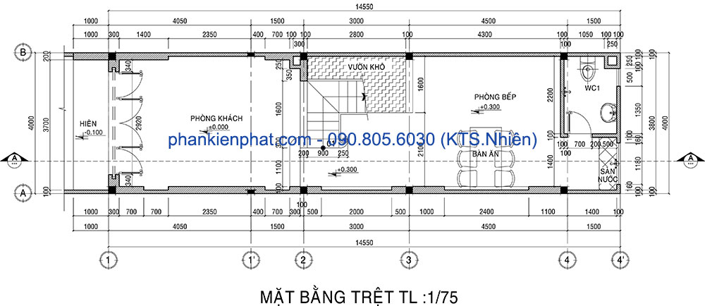 Mặt bằng tầng trệt nhà thông tầng hiện đại 3 tầng