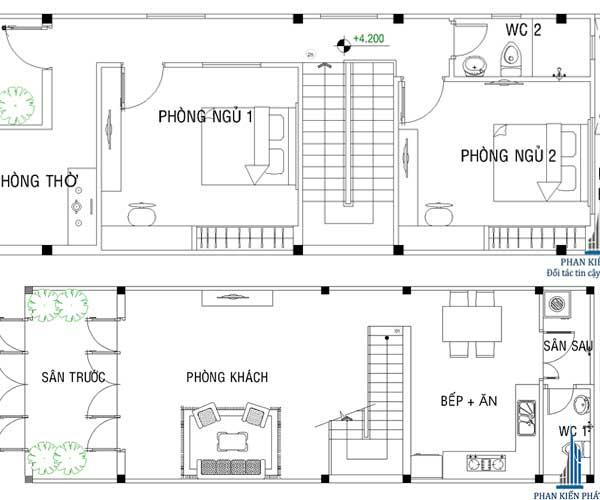 Mặt bằng nhà 2 tầng đơn giản