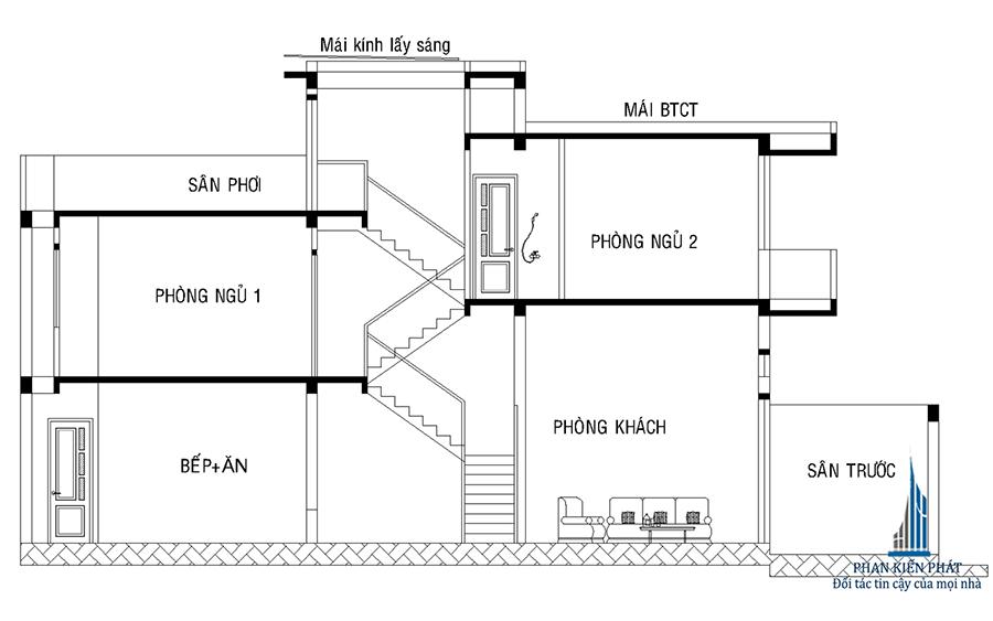 Thiết kế nhà ống 2 tầng - Mặt cắt