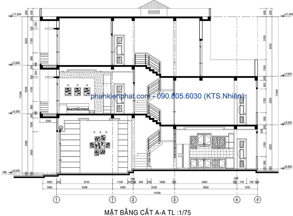 Mặt bằng cắt A-A nhà 4x14.5m thông tầng 3 tầng