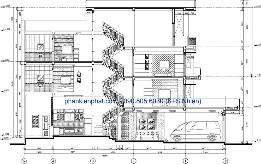 Mặt cắt trục A-A của nhà thông tầng đẹp 4 tầng