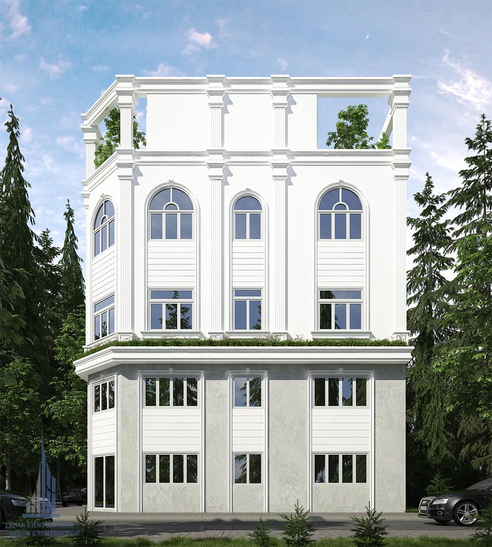 Mặt tiền biệt thự phố 4 tầng đẹp góc view 2