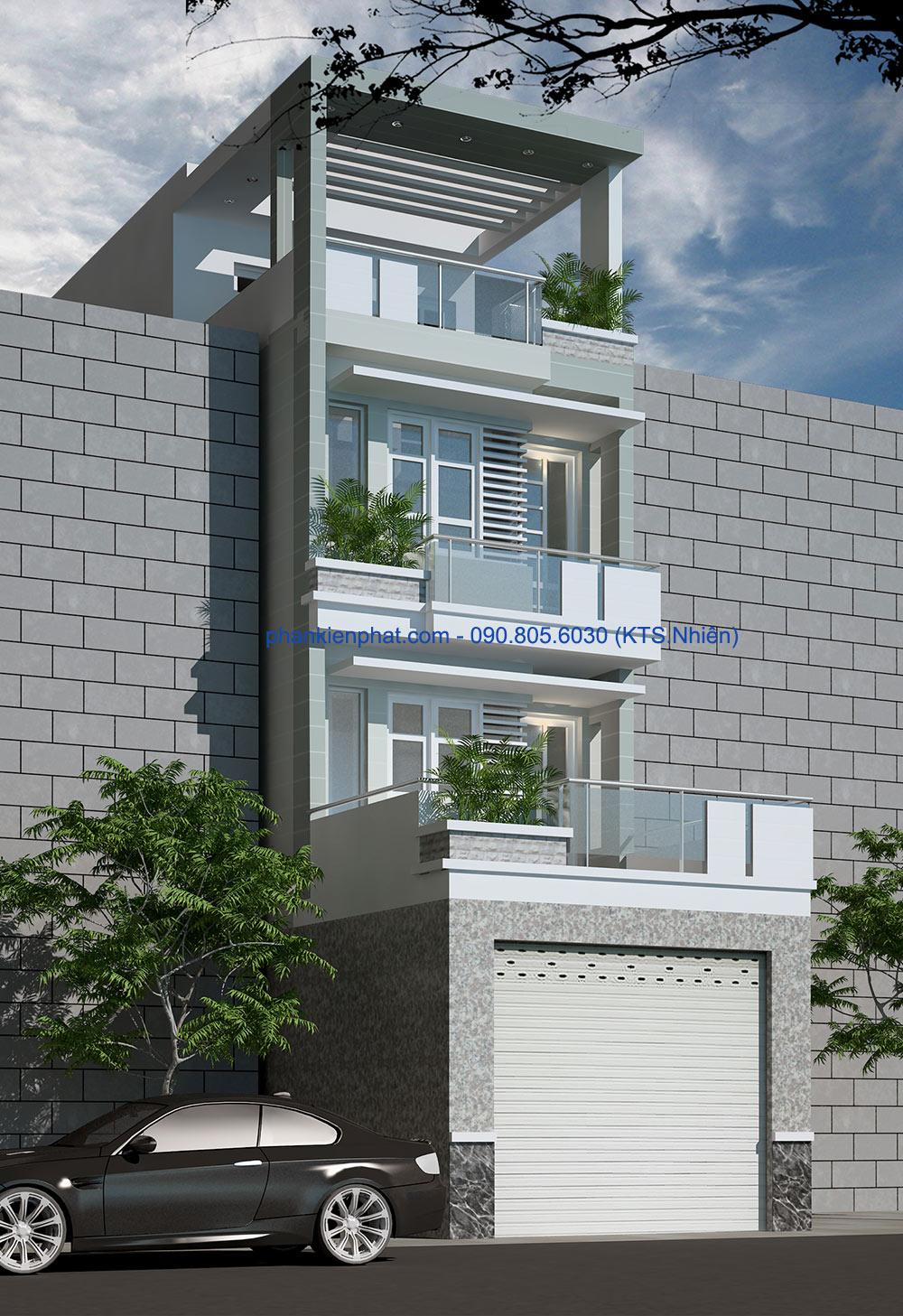 Mặt tiền của bản thiết kế nhà phố 4 tầng 4,5x20m