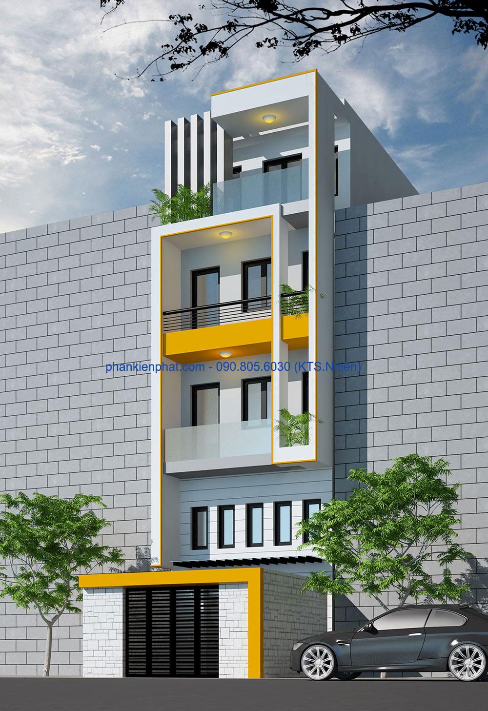 Mặt tiền của nhà đẹp 4 tầng 4,7x12m