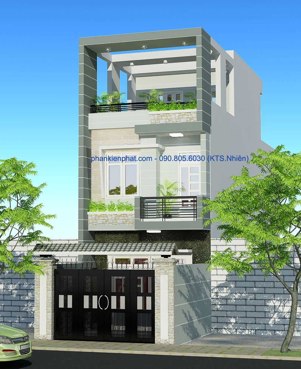 Bản vẽ nhà phố 3 tầng 4x20m hiện đại