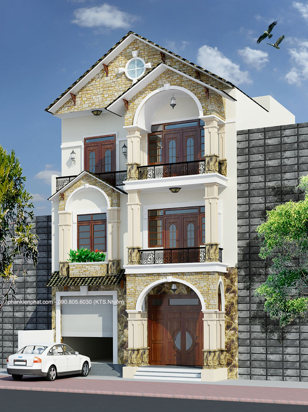 Mẫu biệt thự phố 3 tầng bán cổ điển 8x12m