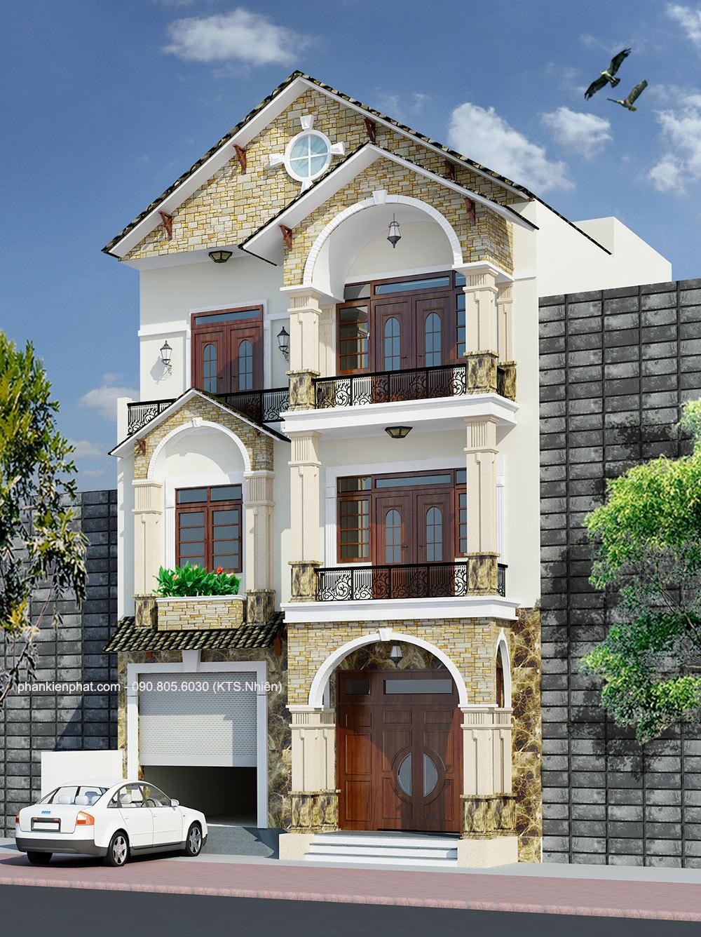 Công trình, Thiết kế nhà 3 tầng, Chị Dương Hương