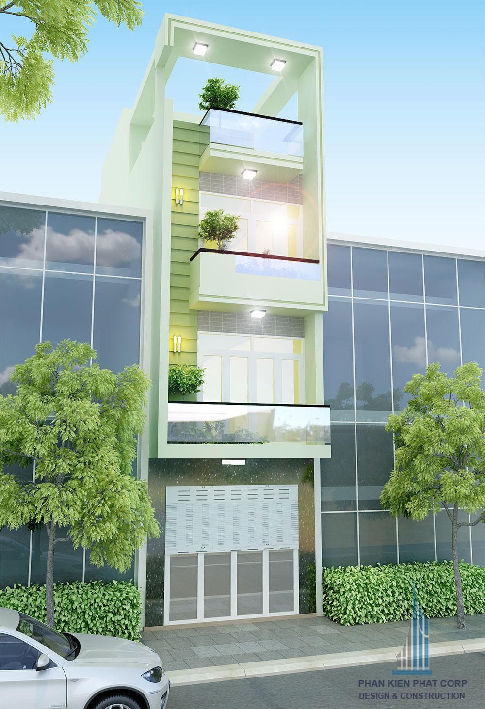 Mẫu nhà phố 4 tầng 4x15m