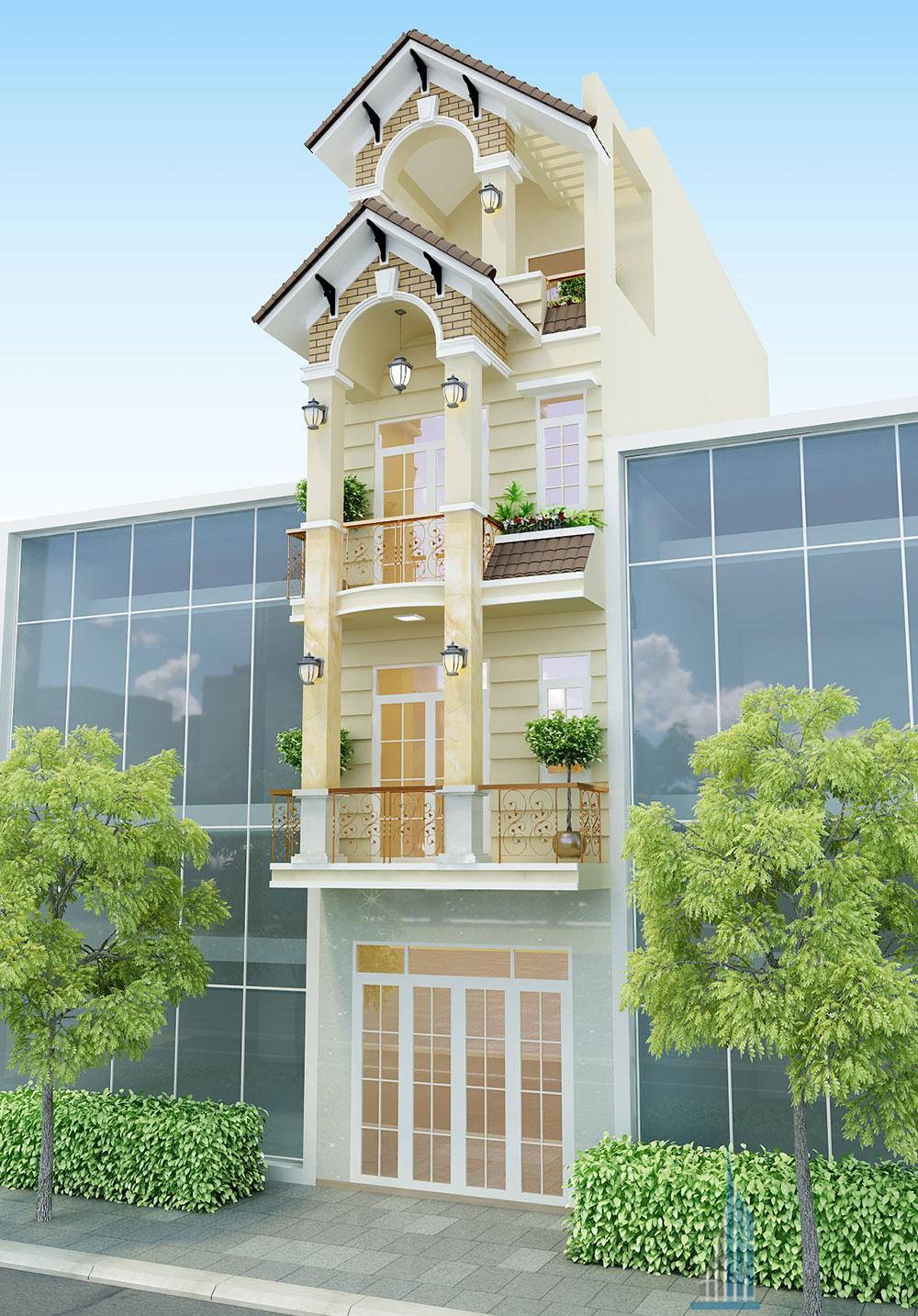 Bản thiết kế nhà 4 tầng 4x16m bán cổ điển