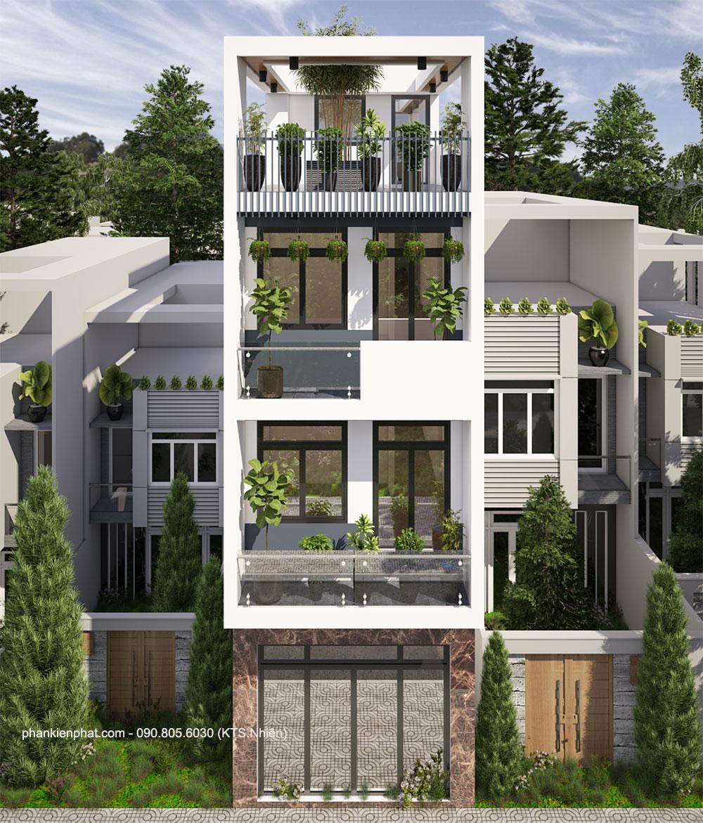 Mẫu nhà phố 4 tầng 4x15m hiện đại