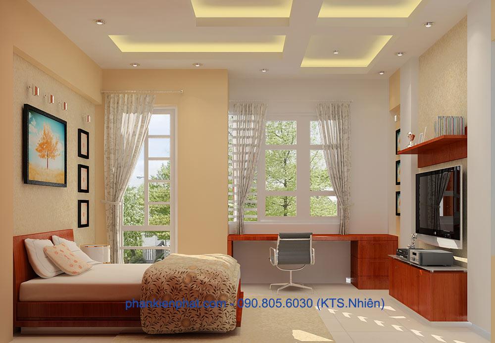Phòng ngủ 4 view 2 của bản vẽ nhà ống 4 tầng hiện đại