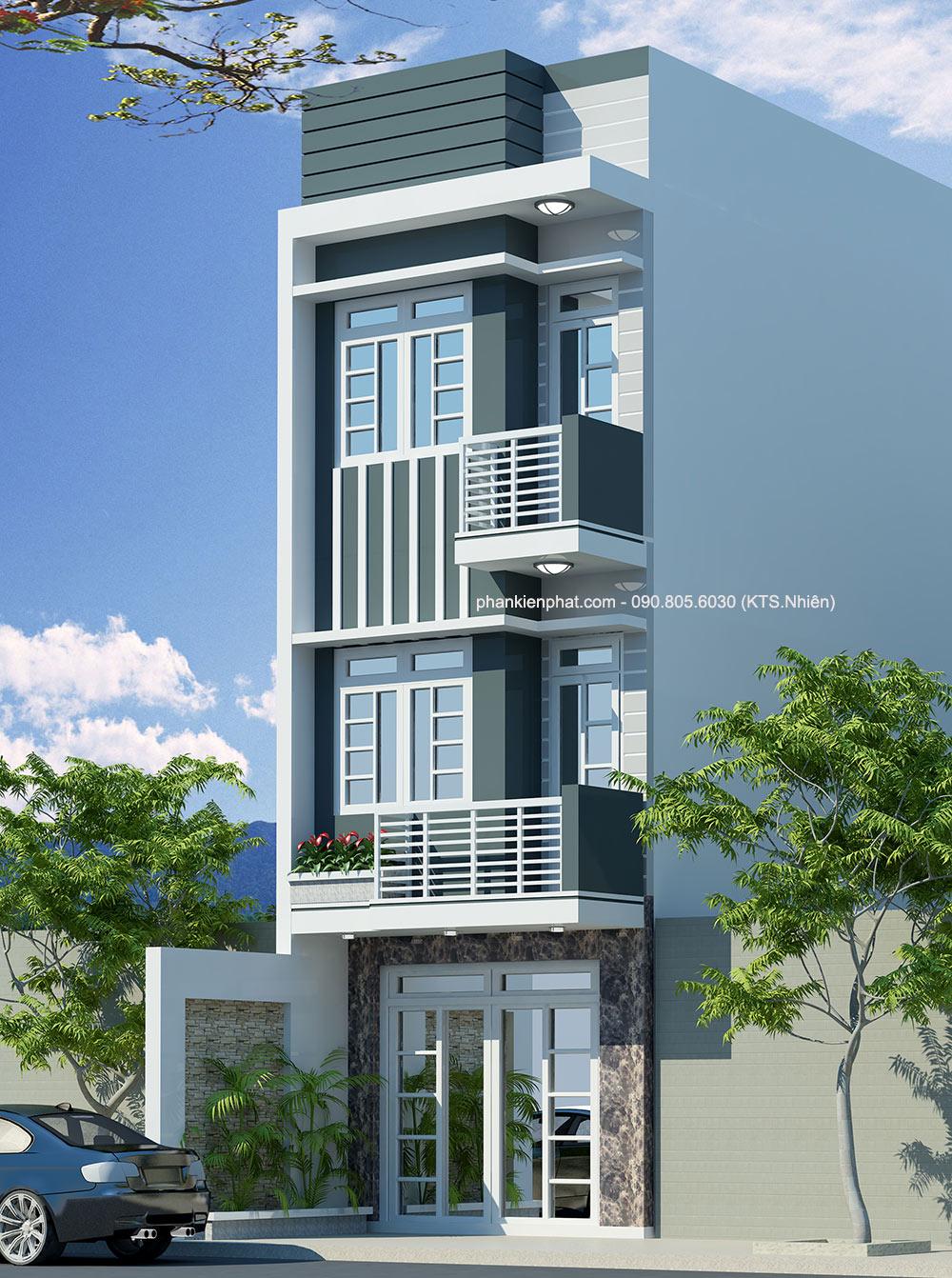Mẫu nhà phố thông tầng hiện đại 3 tầng 4x14.5m
