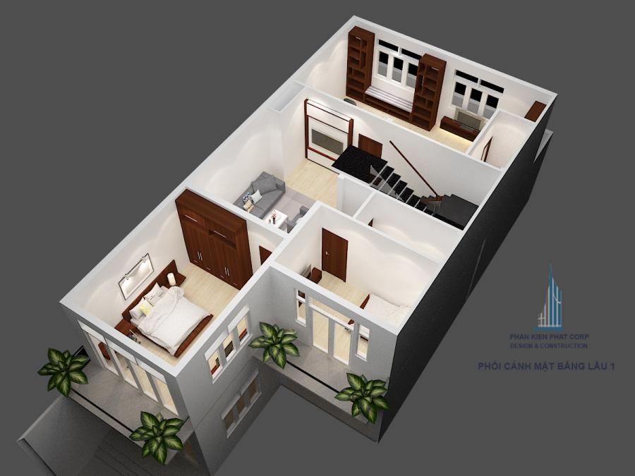 Mặt bằng lầu 2 - Biệt thự mái thái cổ điển