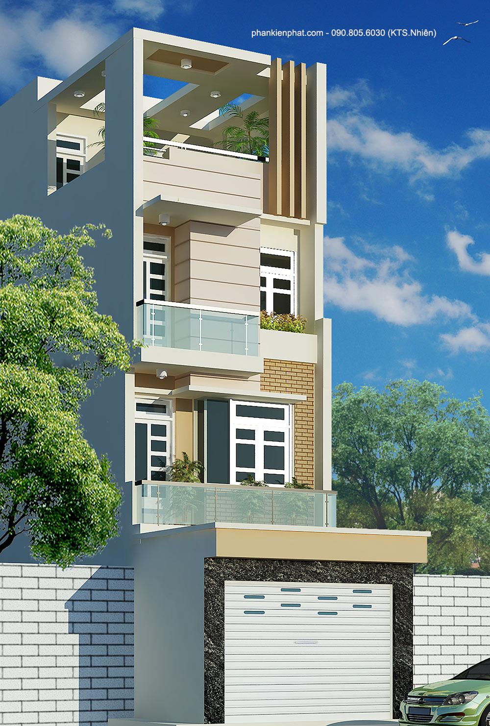 Công trình, Thiết kế nhà 4 tầng, Anh Trung Nam