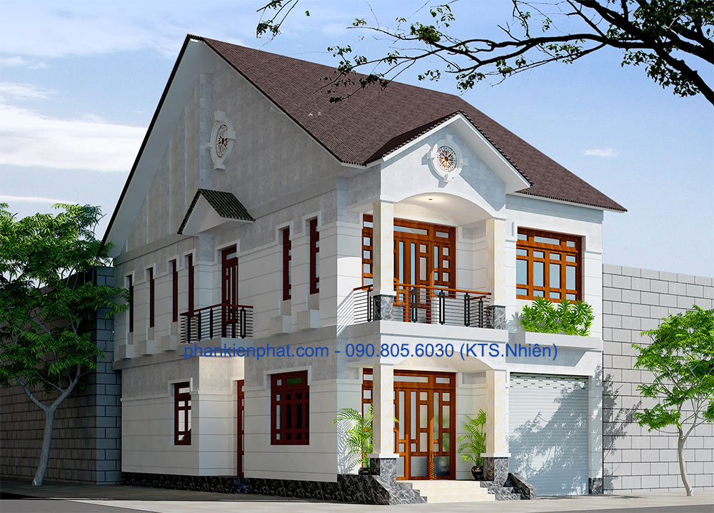 Công trình, Thiết kế nhà 2 tầng, Nhà đẹp 2 tầng 8x12m bán cổ điển