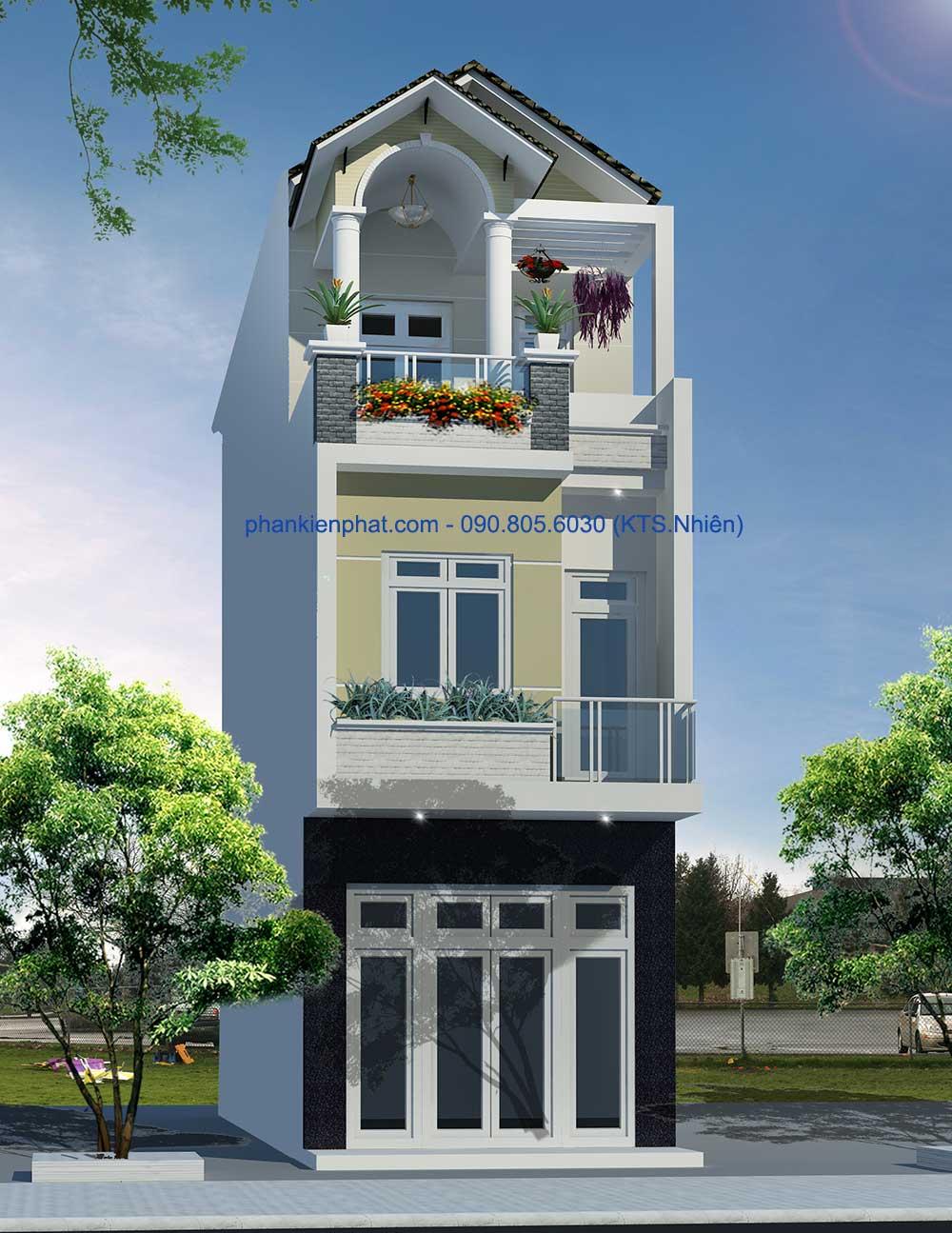 Bản vẽ nhà 3 tầng bán cổ điển 4x13.6m