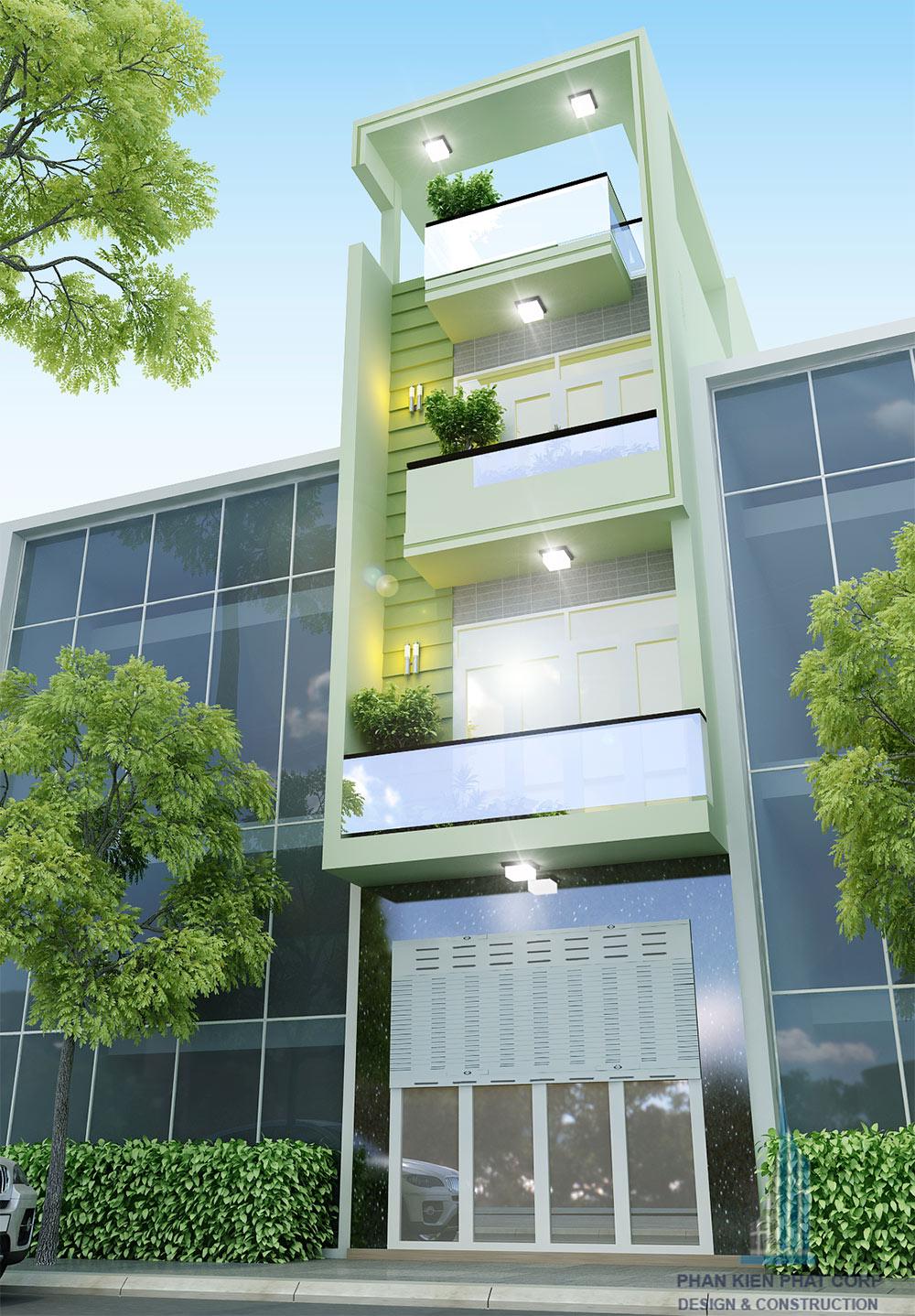 Nhà phố 4 tầng 4x15m hiện đại