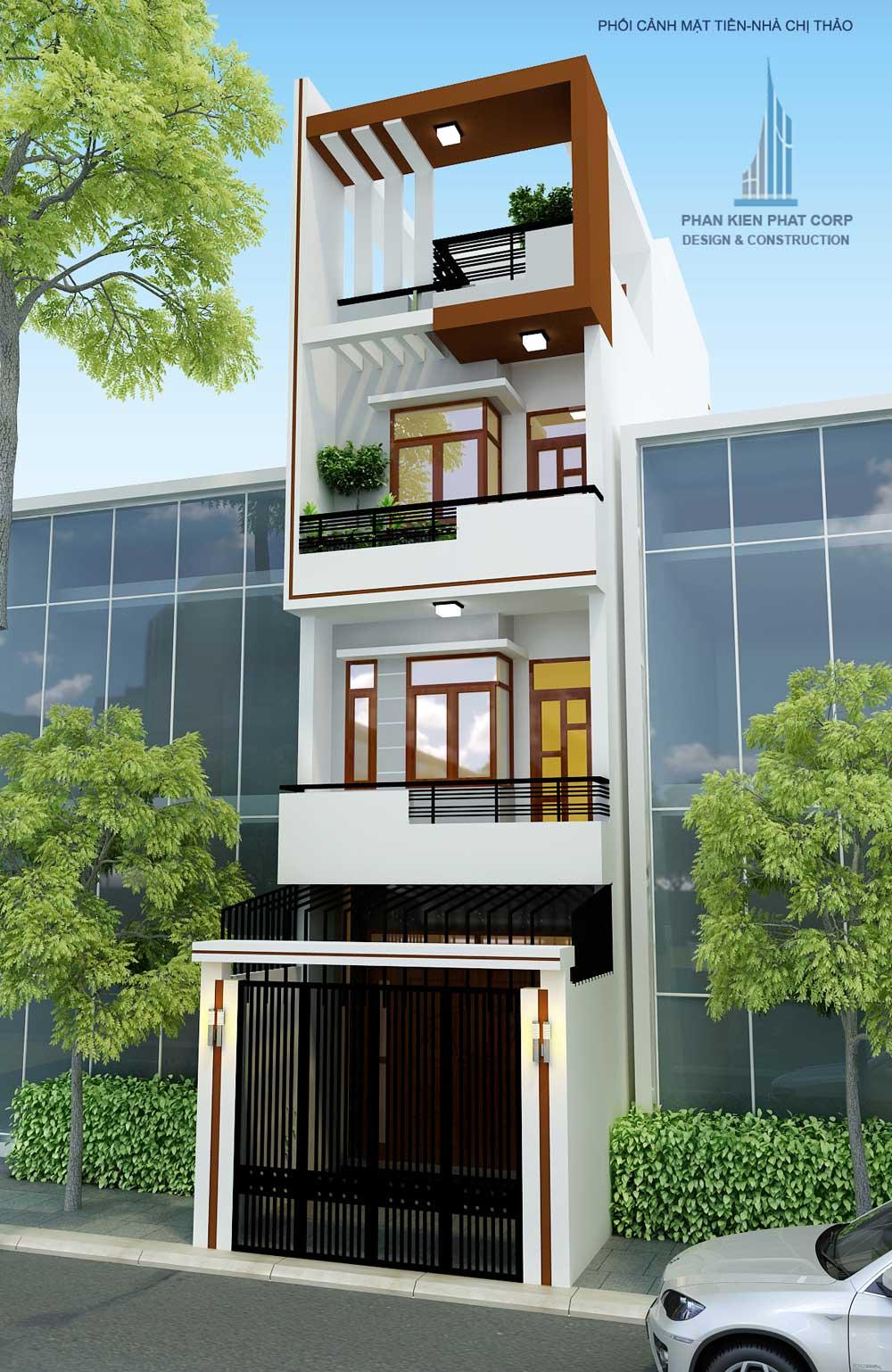 Thiết kế nhà 4 tầng mặt phố hiện đại