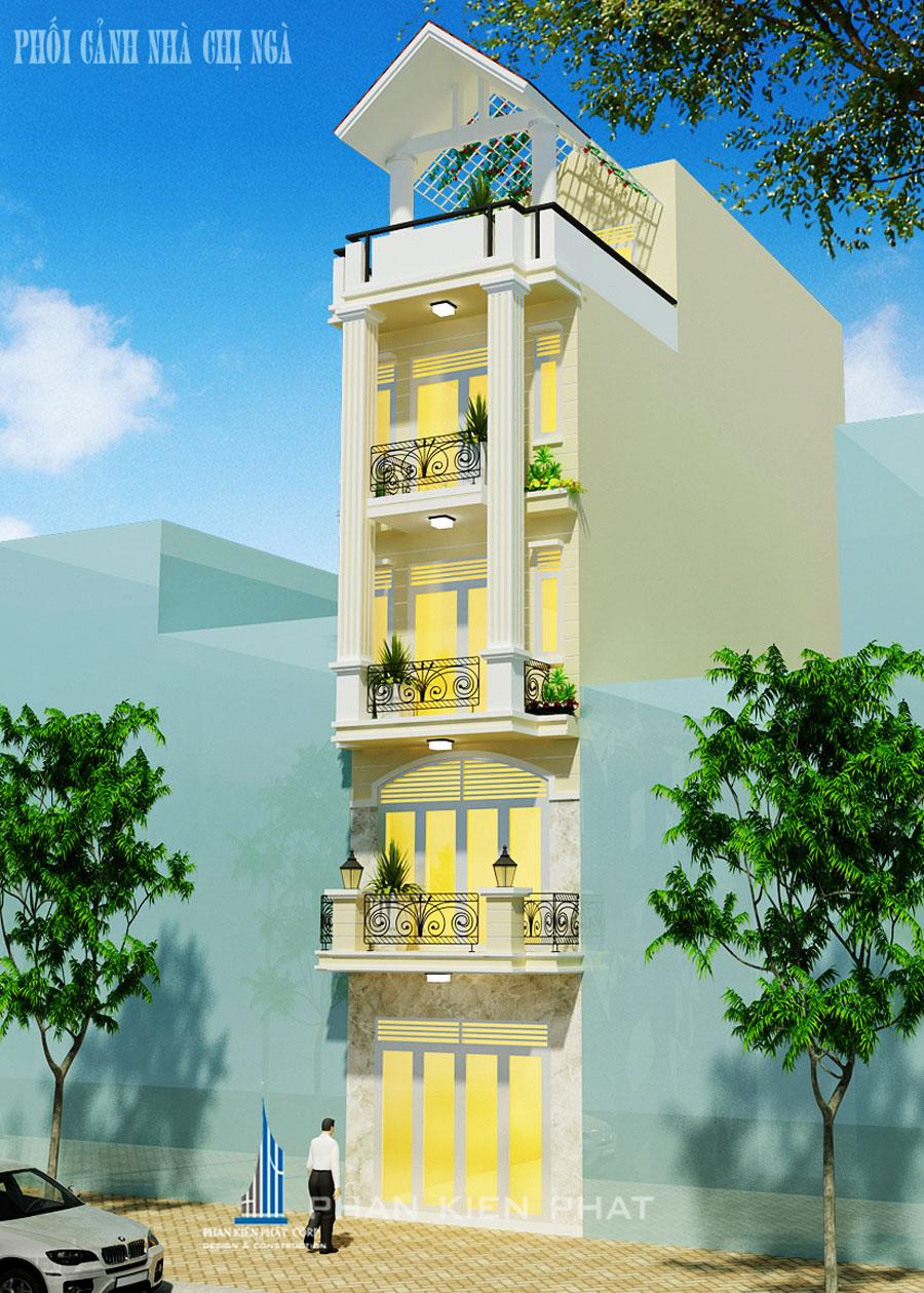 Công trình, Thiết kế nhà 5 tầng, Chị Phạm Thị Ngà